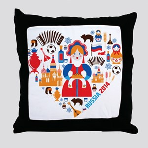 Russia World Cup 2014 Heart Throw Pillow