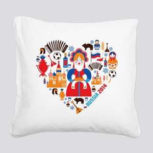 Russia World Cup 2014 Heart Square Canvas Pillow