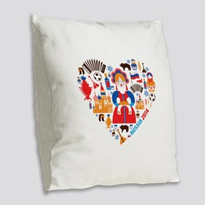 Russia World Cup 2014 Heart Burlap Throw Pillow