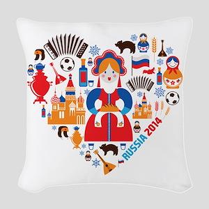 Russia World Cup 2014 Heart Woven Throw Pillow