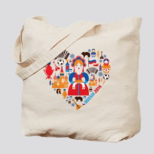 Russia World Cup 2014 Heart Tote Bag