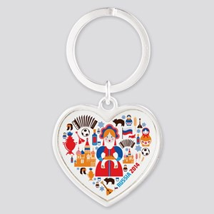 Russia World Cup 2014 Heart Heart Keychain