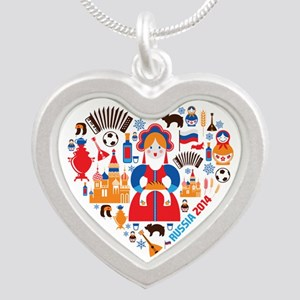 Russia World Cup 2014 Heart Silver Heart Necklace