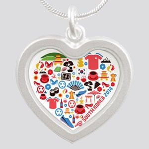 South Korea World Cup 2014 H Silver Heart Necklace