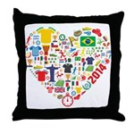 World Cup 2014 Heart Throw Pillow