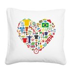 World Cup 2014 Heart Square Canvas Pillow
