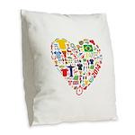World Cup 2014 Heart Burlap Throw Pillow