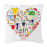 World Cup 2014 Heart Woven Throw Pillow