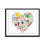 World Cup 2014 Heart Framed Panel Print