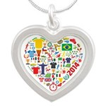 World Cup 2014 Heart Silver Heart Necklace