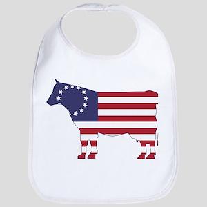 Betsy Ross Flag Cow Icon Bib