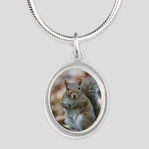 Cute Squirrel Silver Oval Necklace