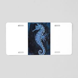 Blue Seahorse Aluminum License Plate