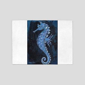 Blue Seahorse 5'x7'Area Rug