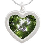 Forest Canopy (Sugar Skull) Silver Heart Necklace