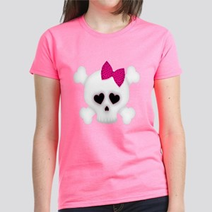 Skull with Pink Bow Women's Dark T-Shirt