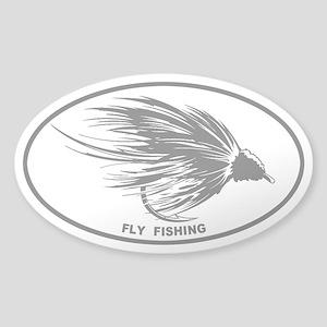 Fly Fishing Gray Oval Sticker