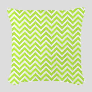 pear green and white chevron stripe Woven Throw Pi