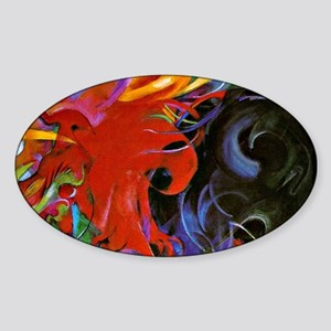 Franz Marc, Fighting Forms Sticker (Oval)
