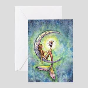 Mermaid Moon Fantasy Art Greeting Card