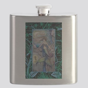 Mermaid and Seahorse Fantasy Art Flask