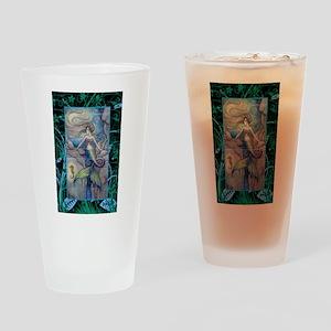 Mermaid and Seahorse Fantasy Art Drinking Glass