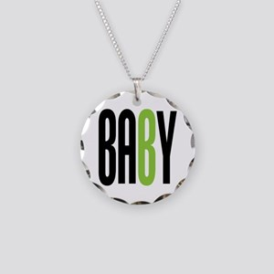 Twin Baby B Green Necklace Circle Charm