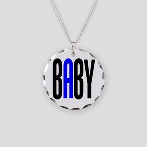 Twin Baby A Blue Necklace Circle Charm