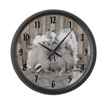 Keeshonds at the Gate Large Wall Clock