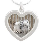Keeshonds at the Gate Silver Heart Necklace