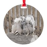 Keeshonds at the Gate Round Ornament