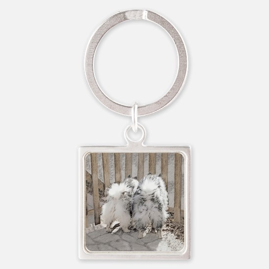 Keeshonds at the Gate Square Keychain
