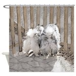 Keeshonds at the Gate Shower Curtain