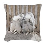 Keeshonds at the Gate Woven Throw Pillow