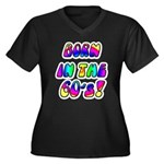 1960's, 60s Women's Plus Size V-Neck Dark T-Shirt
