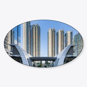 Kowloon Waterfront Hong Kong Sticker (Oval)