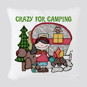 Girl Crazy For Camping Woven Throw Pillow