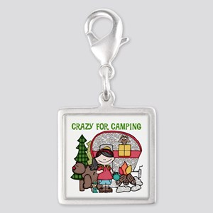 Girl Crazy For Camping Silver Square Charm