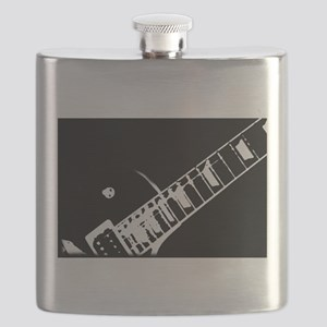 guitar neck stamp black and white Flask
