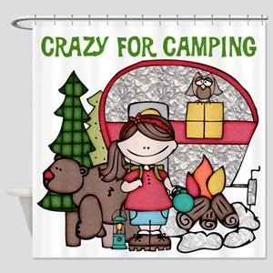 Girl Crazy For Camping Shower Curtain