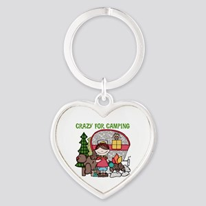 Girl Crazy For Camping Heart Keychain