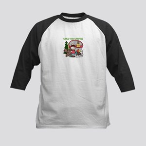 Girl Crazy For Camping Kids Baseball Jersey