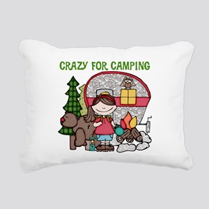 Girl Crazy For Camping Rectangular Canvas Pillow