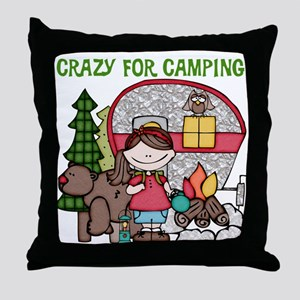 Girl Crazy For Camping Throw Pillow