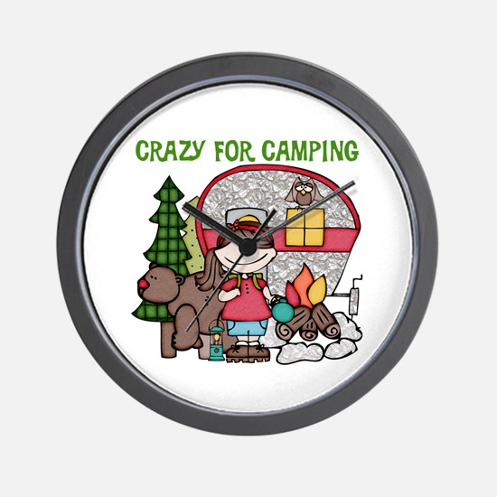 Girl Crazy For Camping Wall Clock