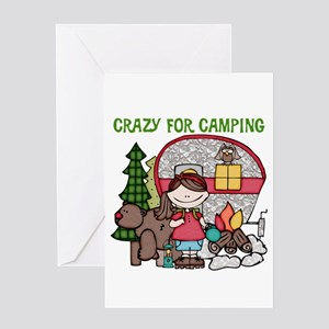 Girl Crazy For Camping Greeting Card