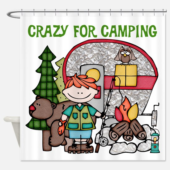 Boy Crazy For Camping Shower Curtain