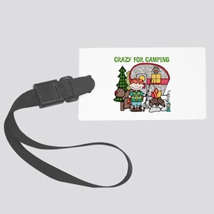 Boy Crazy For Camping Large Luggage Tag