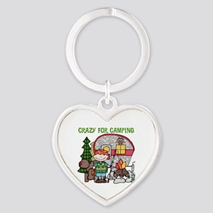Boy Crazy For Camping Heart Keychain