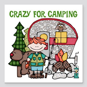 """Boy Crazy For Camping Square Car Magnet 3"""" x 3"""""""